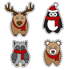 set of cute animals: deer, penguin, owl, bear. vector design pat