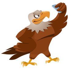 Funny sparrow making selfie. Cartoon styled vector illustration.