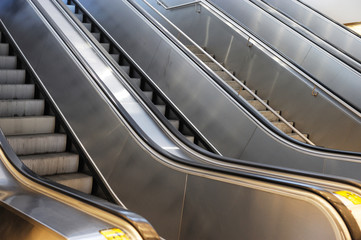 close up on empty escalator in airport