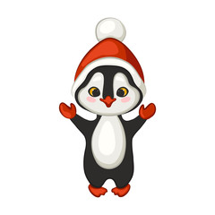 Cute Christmas penguin in a red hat with a pompom, and mittens.