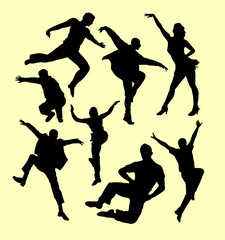 Tap dance man and women silhouette. Good use for symbol, logo, web icon, mascot, sign, sticker, or any design you want.