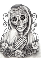 Skull art day of the dead.Art design skull action smiley face day of the dead festival hand pencil drawing on paper.