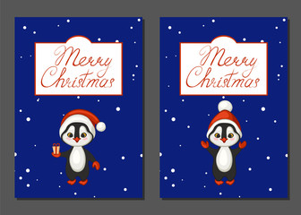 Merry Christmas poster, banner, greeting card set. Cartoon penguins in red hats on blue background. Vector illustration.