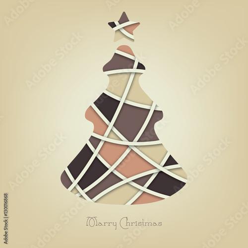 Vintage Pastel Christmas Tree Vector Xmas Background Card Stock