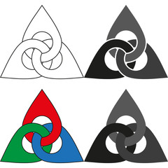 Set Optical illusion objects. Valknut or Knot of the dead. Magic symbol, an interlacing of three triangles