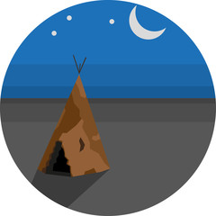 Round landscape icon. Flat style illustration. Wigwam in the steppe near the moon