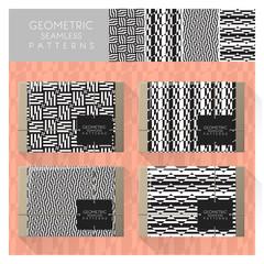 Set of geometric seamless pattern , vector , illustration