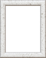 White vintage picture frame isolated on white background. Digital illustration art work.