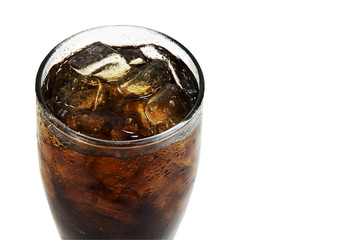 Close up soft drink with soda in glass
