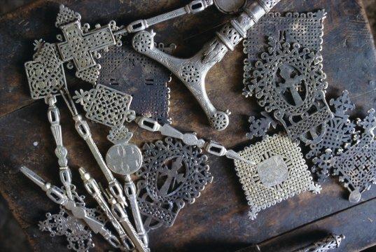 Metal objects in the blacksmith's workshop, Axoum (Axum), Tigre region, Ethiopia