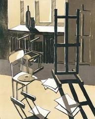 Мастерская художника, иллюстрация интерьера