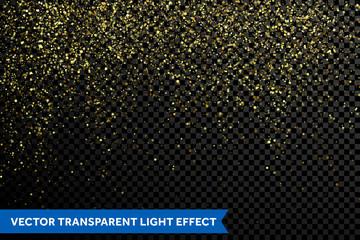 Gold glitter particles of magic glittering stardust