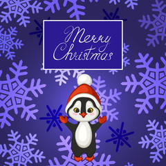 Merry Christmas poster, banner, greeting card. Penguin in red hat on background with snowflakes. Vector illustration.
