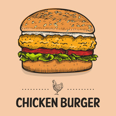 Hand Drawn Chicken Burger, vector