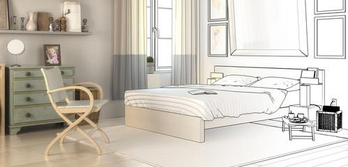 Schlafzimmer-Konzept (panoramisch)