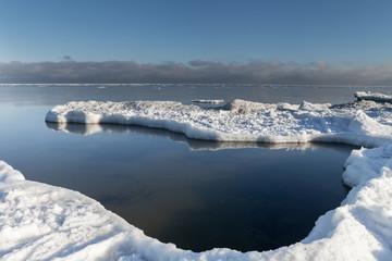 Icy coast of Baltic sea, gulf of Riga in january.