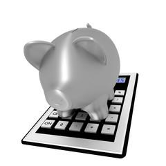 Calculator with piggy bank, 3d illustration