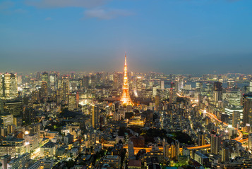 Tokyo city skyline with Tokyo Tower