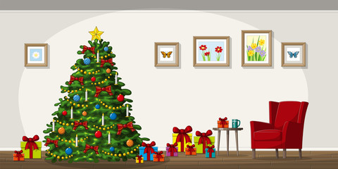 Illustration of interior equipment with christmas tree