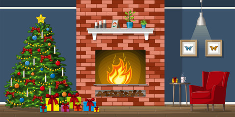 Illustration of interior equipment of a living room with christmas tree