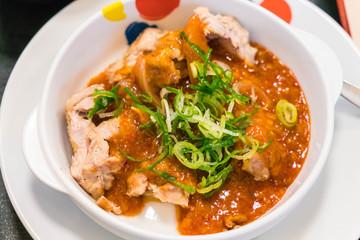 Stired chicken with kimchi sauce