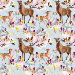 Spring forest seamless pattern.