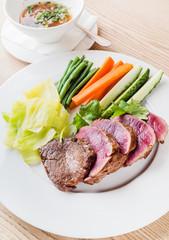 juice steak with vegetables