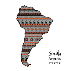 Textured vector map of South America. Hand-drawn ethno pattern, tribal background. Vector illustration