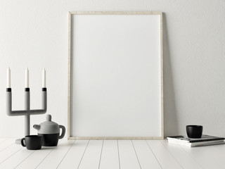 3d rendering of mock up poster with candle holder