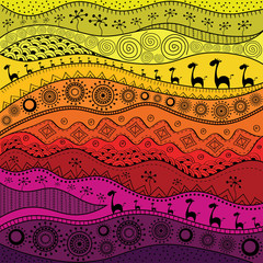 African hand-drawn ethno pattern, tribal background. It can be used for wallpaper, web page and others.  Vector illustration.