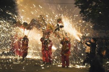Fire Dragon lunar New Year festival, Taijiang town, Guizhou Province, China, Asia