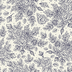 Seamless pattern with roses and chrysanthemum. Vintage. Freehand drawing