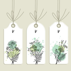Floral tags collection. Freehand drawing