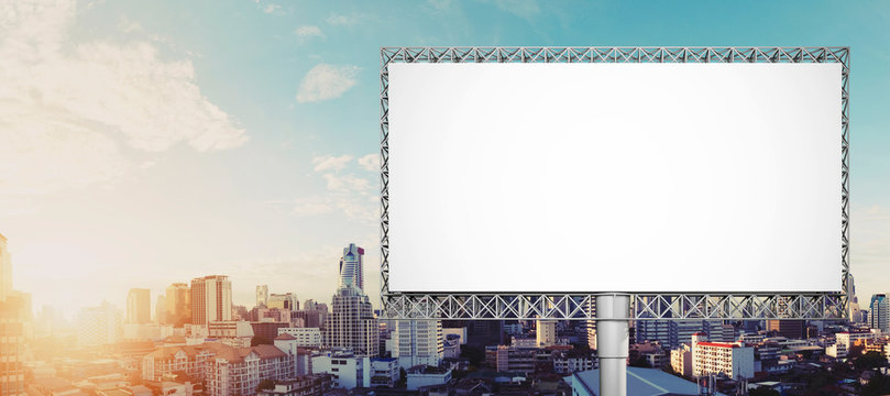 Blank billboard for advertisement at Bangkok city in sunrise