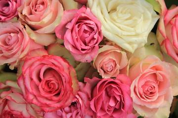 Mixed pink bridal roses