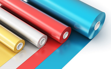 Rolls of color PVC plastic tape