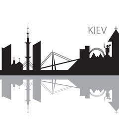 Kiev City skyline black and white silhouette