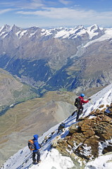 Climber on The Matterhorn, 4478m, Zermatt, Valais, Swiss Alps, Switzerland, Europe