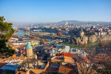 The Panoramic View Of Tbilisi, Sameba, Metekhi,  autumn, Georgia
