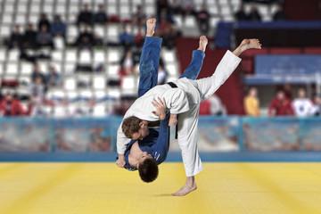 Judokas fighters fighting men on fans background