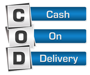 COD - Cash On Delivery Blue Grey Squares Vertical