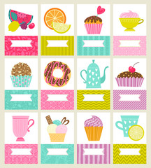 Set of cards or invitations. Illustrations with desserts, tea and fruit