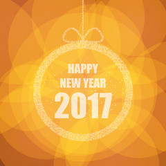 Beautiful greeting card with the new 2017 with glitter effect. Vector