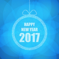 Beautiful greeting card with the new 2017 in blue with glitter effect. Vector