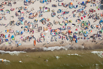 aerial view of sandy  beach on Baltic sea Wall mural