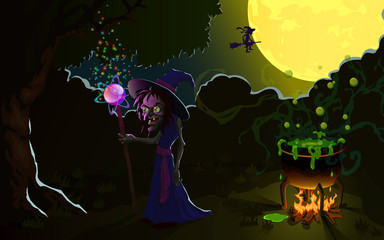Witch on Halloween, brews a potion in a cauldron. Vector Illustration.