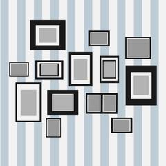 Blank frame on wall. Photo art gallery