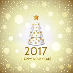 New Year background with elegant Christmas tree