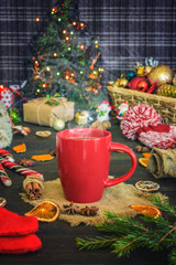 Christmas background with new year decorations and treats.