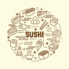 sushi minimal thin line icons set